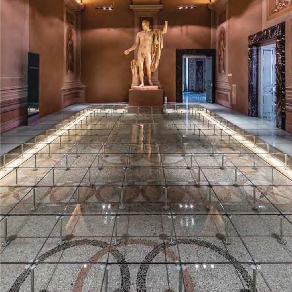 pavimento sopraelevato vetro