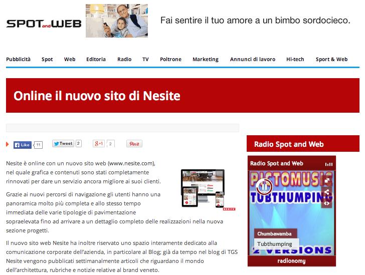 Spot & Web - Online il nuovo sito di Nesite