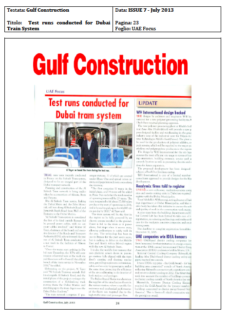 Nesite was chosen as the supplier of the raised access floors for The Al Sufouh Tram system