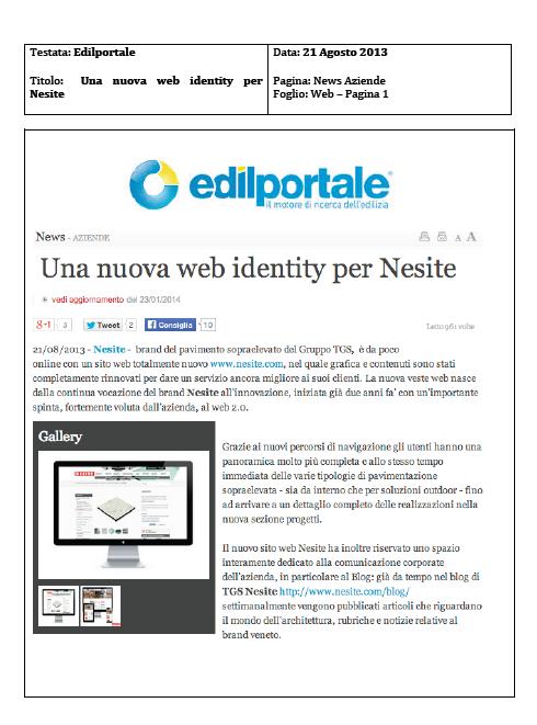 Una nuova web identity per l'azienda veneta di pavimenti sopraelevati Nesite