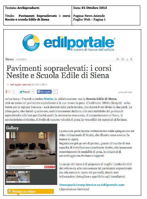 Pavimenti Sopraelevati - i corsi di Nesite e scuola Edile di Siena