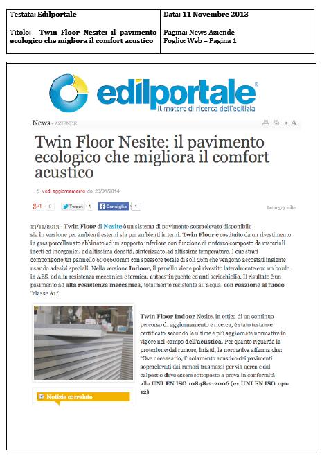 TwinFloor Nesite il pavimento ecologico che migliora il comfort acustico