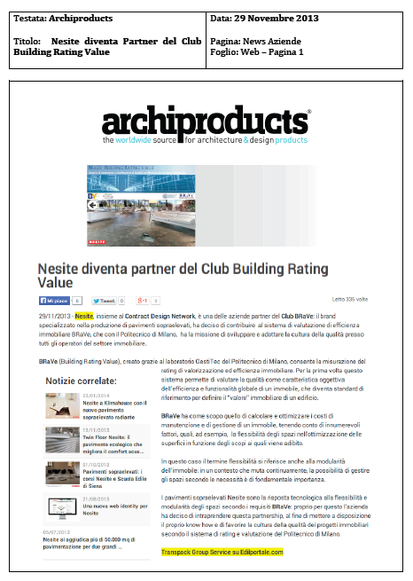Nesite diventa partner del Club Building Rating Value