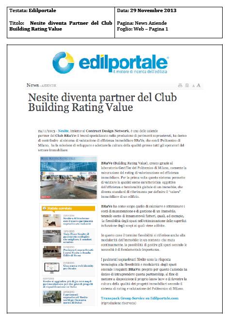 Nesite diventa partner del Club Building Rating Value