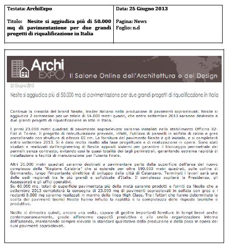 Nesite si aggiudica due grossi progetti di qualificazione in Italia e fornirà più di 50 mila mq di pavimento sopraelevato