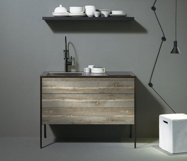 Pattina - cucina compatta in legno design giapponese